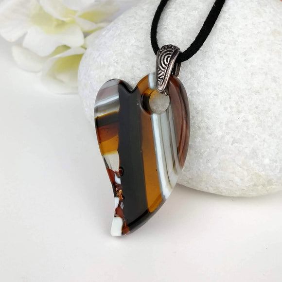 Brown Amber Heart, Dichroic Necklace, Dichroic Pendant, Dichroic Jewelry
