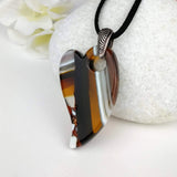 Brown Amber Heart, Dichroic Necklace, Dichroic Pendant, Dichroic Jewelry, Fused Glass Necklace, Fused Glass Pendant, Fused Glass Jewelry