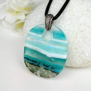 Turquoise Blue White Stripe Ocean Oval, Fused Glass Necklace, Fused Glass Pendant, Fused Glass Jewelry, Dichroic Glass, Glass Jewelry