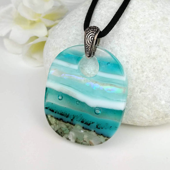 Turquoise Blue White Stripe Ocean Oval, Fused Glass Necklace, Fused Glass Pendant