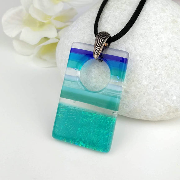 Turquoise Blue White Stripe Ocean Geometric, Fused Glass Necklace, Fused Glass Pendant, Fused Glass Jewelry, Dichroic Glass, Glass Jewelry