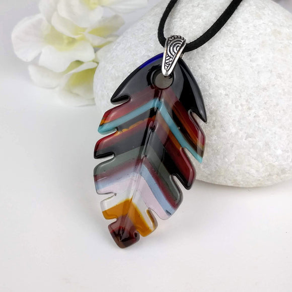 Brown Amber Red Southwest Feather, Fused Glass Necklace, Fused Glass Pendant, Fused Glass Jewelry, Dichroic Glass, Glass Jewelry