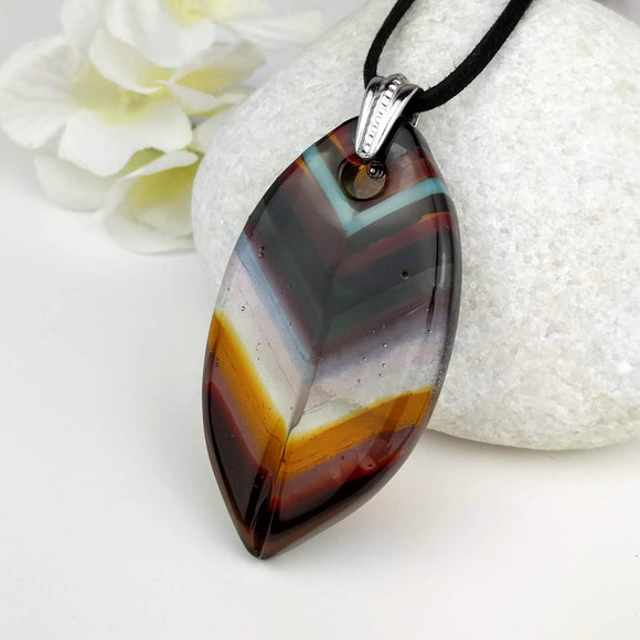 Brown Amber Red Southwest Leaf, Fused Glass Necklace, Fused Glass Pendant, Fused Glass Jewelry, Dichroic Glass, Glass Jewelry