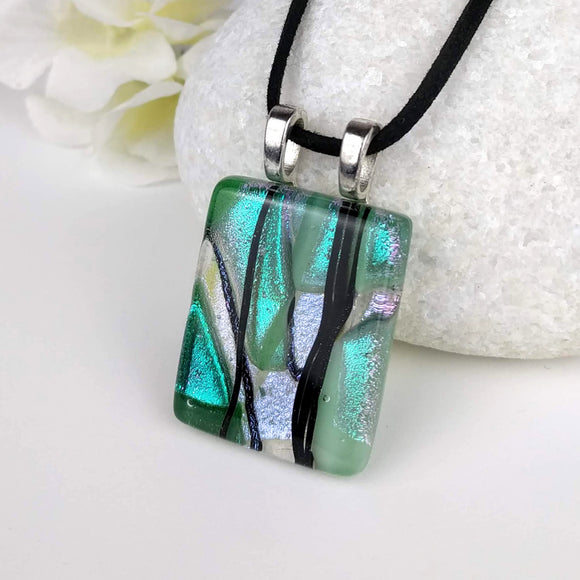 Jade Green Black Stripe Sparkle Geometric, Fused Glass Necklace, Fused Glass Pendant