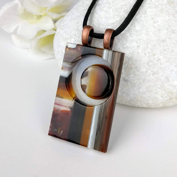 Brown Amber White Cresent Moon, Fused Glass Necklace, Fused Glass Pendant, Fused Glass Jewelry, Dichroic Glass, Glass Jewelry