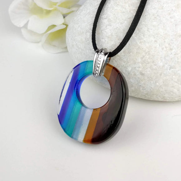 Blue Amber Brown Stripe Rainbow Oval Ring, Fused Glass Necklace, Fused Glass Pendant, Fused Glass Jewelry, Dichroic Glass, Glass Jewelry
