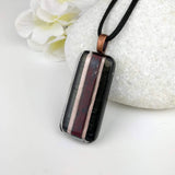 Black Red Rose Copper Stripe Geometric, Fused Glass Necklace, Fused Glass Pendant