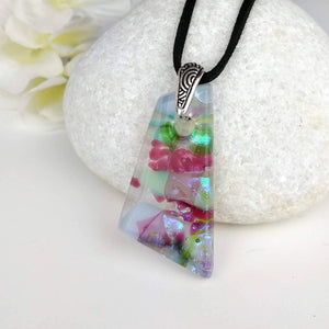 Lavender Pink Blue Rainbow Geometric, Fused Glass Necklace, Fused Glass Pendant, Fused Glass Jewelry, Dichroic Glass, Glass Jewelry