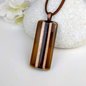 Amber Brown Gold Copper Stripe Geomtric, Fused Glass Necklace, Fused Glass Pendant, Fused Glass Jewelry, Dichroic Glass, Glass Jewelry