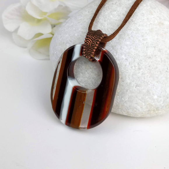 Brown Amber White Clear Stripe Oval, Fused Glass Necklace, Fused Glass Pendant