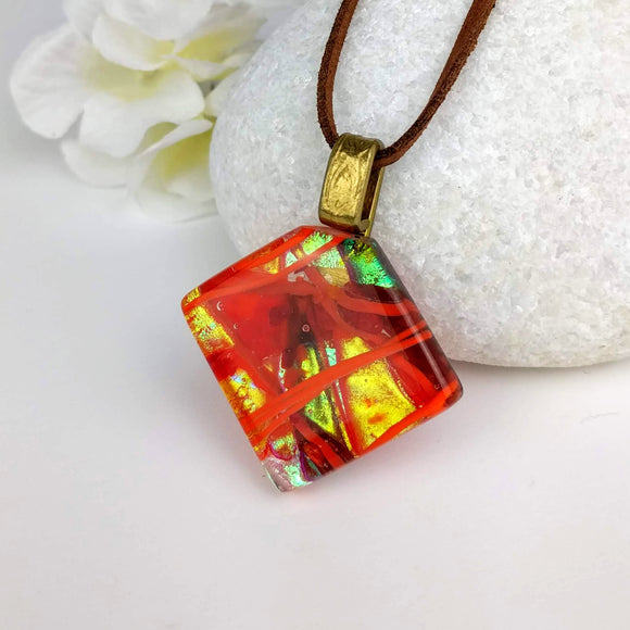 Red Gold Copper Orange Stripe Diamond, Fused Glass Necklace, Fused Glass Pendant