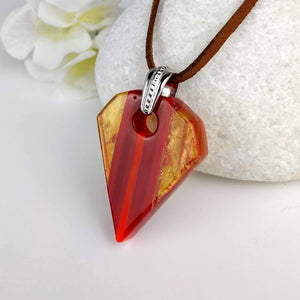 Red Orange Copper Stripe Jewel Geometric, Fused Glass Necklace, Fused Glass Pendant