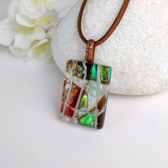 Brown Green Gold Copper White Stripe Geometric, Fused Glass Necklace, Fused Glass Pendant