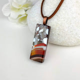 Amber Brown White Gray Stripe Stone Geometric, Fused Glass Necklace, Fused Glass Pendant, Fused Glass Jewelry, Dichroic Glass, Glass Jewelry