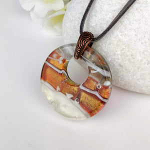 Copper Gray White Stripe Round Disc, Fused Glass Necklace, Fused Glass Pendant