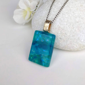 Turquoise Blue Ocean Rainbow Geometric, Fused Glass Necklace, Fused Glass Pendant