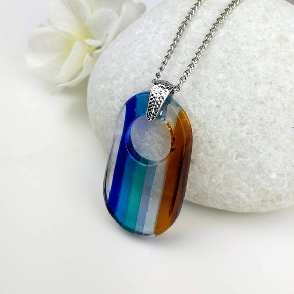 Blue Amber Brown Stripe Oval Disc, Fused Glass Necklace, Fused Glass Pendant