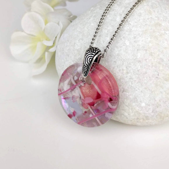 Pink Lavender White Stripe Round Disc, Fused Glass Necklace, Fused Glass Pendant, Fused Glass Jewelry, Dichroic Glass, Glass Jewelry