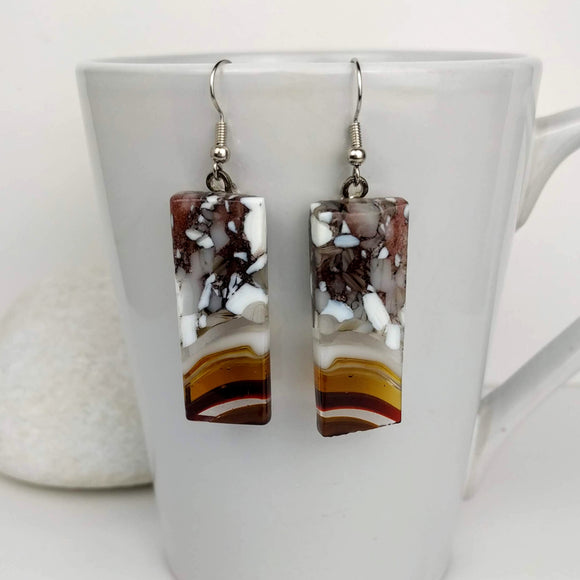 Amber Brown Gray White Stripe Dangle, Fused Glass Earrings, Handmade Earrings, Fused Glass Jewelry