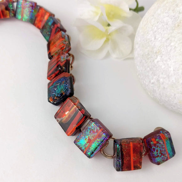 Red Copper Orange Stripe Link Bracelet, Dichroic Bracelet, Fused Glass Bracelet, Link Bracelet