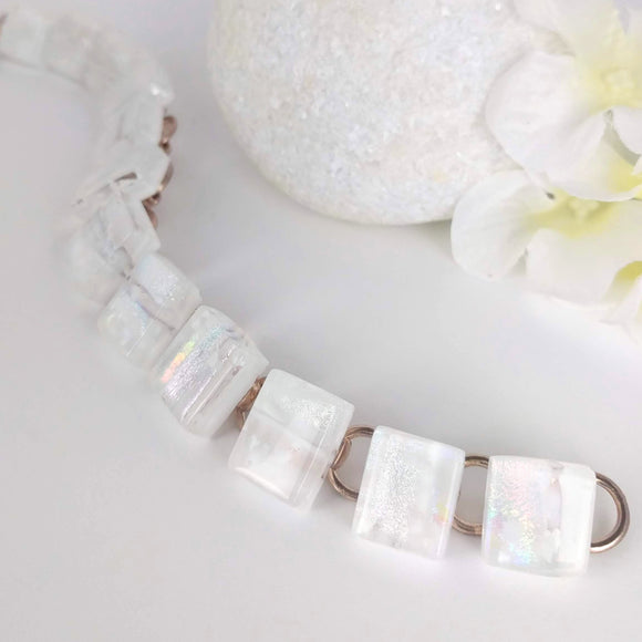 Frosty Ice White Link Bracelet, Dichroic Bracelet, Fused Glass Bracelet, Handmade Bracelet, Link Bracelet, Dichroic Jewelry