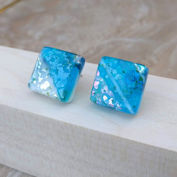 Aqua Blue White Silver Square Button, Dichroic Earrings, Dichroic Jewelry, Fused Glass Earrings