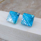 Aqua Blue White Silver Square Button, Dichroic Earrings, Dichroic Jewelry, Fused Glass Earrings, Handmade Earrings, Fused Glass Jewelry