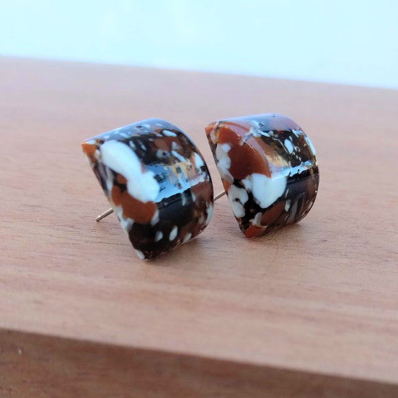 Brown Black White Sienna Stone Button, Fused Glass Earrings, Handmade Earrings, Fused Glass Jewelry