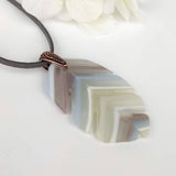Lavender White Gray Feather Leaf, Fused Glass Necklace, Matte Glass Pendant, Native Jewelry