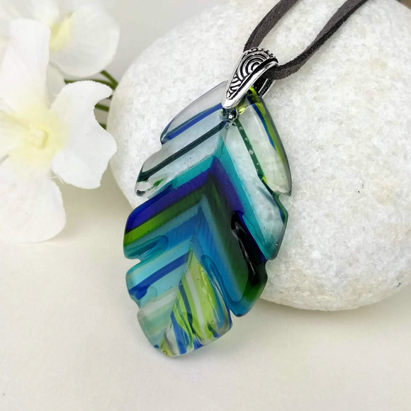 Aqua Clear Blue Stripe Feather, Fused Glass Necklace, Fused Glass Pendant, Fused Glass Jewelry