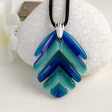 Aqua Turquoise Blue Stripe Leaf, Fused Glass Necklace, Fused Glass Pendant, Fused Glass Jewelry