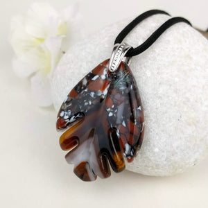 Brown Amber Teardrop Feather, Fused Glass Necklace, Fused Glass Pendant, Fused Glass Jewelry