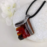 Brown Amber Red Southwest Feather, Fused Glass Necklace, Fused Glass Pendant, Fused Glass Jewelry