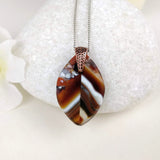 Brown Amber White Leaf, Fused Glass Necklace, Fused Glass Pendant, Fused Glass Jewelry, Handmade Boho Fashion Leather Necklace