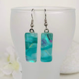 Aqua Turquoise Blue Ocean Dangle, Dichroic Earrings, Dichroic Jewelry, Fused Glass Earrings