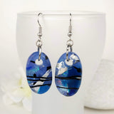 Blue Lavender Silver Black Stripe Dangle, Dichroic Earrings, Dichroic Jewelry, Fused Glass Earrings