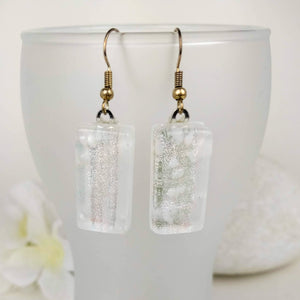 Frosty Silver White Dangle, Dichroic Earrings, Dichroic Jewelry, Fused Glass Earrings