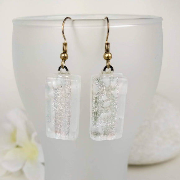 Frosty Silver White Dangle, Dichroic Earrings, Dichroic Jewelry, Fused Glass Earrings, Handmade Earrings, Fused Glass Jewelry