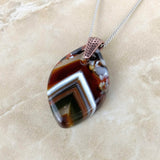 Brown Amber White Leaf, Fused Glass Necklace, Fused Glass Pendant, Fused Glass Jewelry
