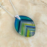 Aqua Clear Blue Stripe Leaf, Fused Glass Necklace, Fused Glass Pendant, Fused Glass Jewelry