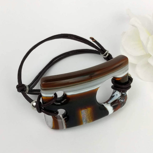 Brown Amber Stripe, Fused Glass Bracelet, Handmade Bracelet, Adjustable Glass Bar Bracelet