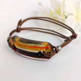 Amber Clear Brown, Fused Glass Bracelet, Handmade Bracelet, Adjustable Glass Bar Bracelet
