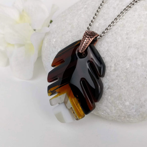 Brown White Leaf, Fused Glass Necklace, Fused Glass Pendant, Handmade Fused Glass Jewelry, Boho Style Necklace