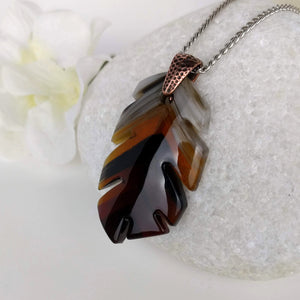 Amber Brown Leaf, Fused Glass Necklace, Fused Glass Pendant, Handmade Fused Glass Jewelry