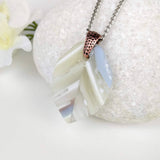 White Clear Lavender Leaf, Fused Glass Necklace, Fused Glass Pendant, Handmade Fused Glass Jewelry, Boho Style Necklace