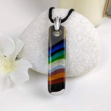 Rainbow Stripe Bar, Fused Glass Necklace, Fused Glass Pendant, Dichroic Glass, Handmade Jewelry