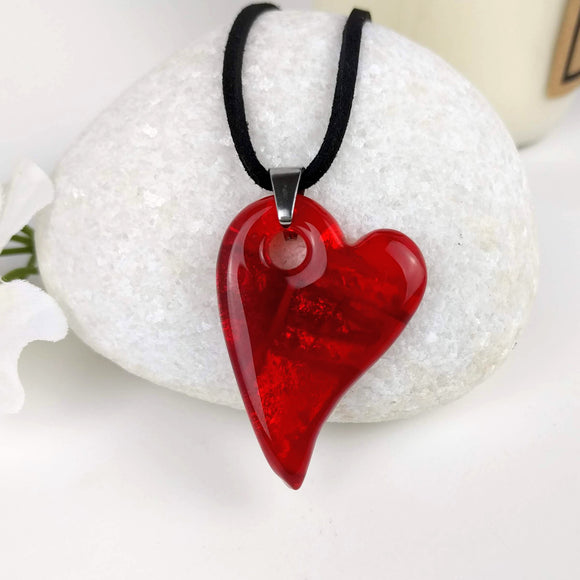 Cherry Red Heart, Fused Glass Necklace, Fused Glass Pendant, Dichroic Glass, Handmade Jewelry