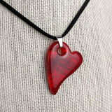 Cherry Red Heart, Fused Glass Necklace, Fused Glass Pendant, Dichroic Glass, Handmade Fused Glass Jewelry