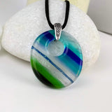 Aqua Blue Oval, Fused Glass Necklace, Fused Glass Pendant, Fused Glass Jewelry, Dichroic Glass, Glass Jewelry