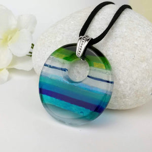 Aqua Blue Oval, Fused Glass Necklace, Fused Glass Pendant, Fused Glass Jewelry, Dichroic Glass